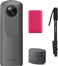 Ricoh Theta V 360 4K Spherical VR Camera W TL-1 Lens Cap + Portable Battery Charger and Monopod Bundle