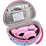 Headphone Case Comatible for Riwbox CT-7 Pink& Green 3.5mm Jack CT-7S Cat iClever IC-HS01 Mpow BH297B Wired and Picun Bluetooth Wireless Over-Ear Headphones Headset for Kids