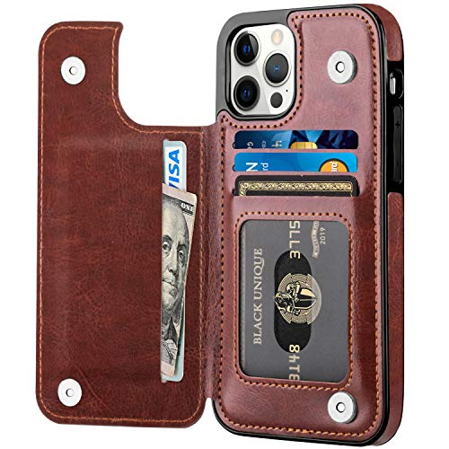 Aoksow Designed for iPhone 12 Pro Max Wallet Case, Premium Soft PU Leather Card Holder Case with Kickstand Slim Flip Case for iPhone 12 Pro Max 6.7 Inch (Brown)