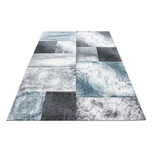 SIMPEX Alfombra de diseño Moderno, para salón, Pelo Corto, Jaspeado, Corte de Contorno, Cuadros, patrón de mármol, Color Negro, Gris y Azul, Azul, 200 x 290 cm