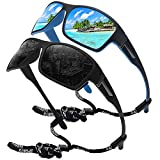 STORYCOAST Polarized Sports Sunglasses for Men Women Unbreakable Frame Cycling Fishing Driving Black+Blue Mirror 2Pack