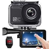 AKASO Caméra Sport 4K WiFi 20MP Etanche Stabilisateur 60fps Ultra HD EIS Écran LCD Tactile Angle Réglable 170 Degrés 39M sous Marine 3 Batteries Télécommande Soutien Micro Kits d'Accessoires - Noir
