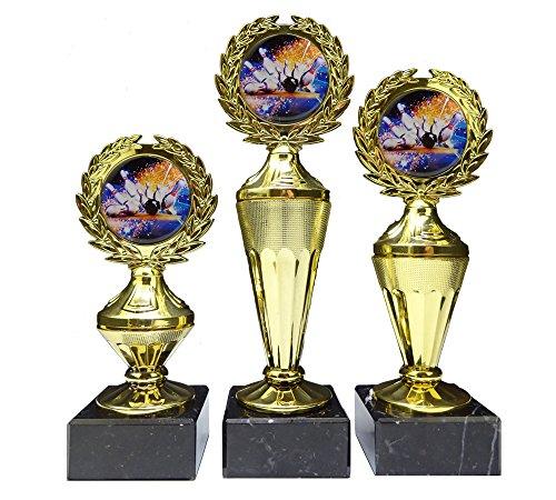 RaRu 3er-Serie Bowling-Pokale mit Bunten Emblemen und mit Ihrer Wunschgravur (Biso3)