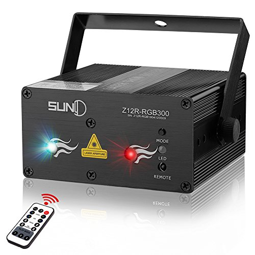 SUNY Laser Lights Music Laser Projector 12 Gobos in Green Blue Laser Light Mixed Red Stars Effect Remote Control Sound Activated Stage Lighting Party Dance Home Decorative Xmas Holiday DJ Light Show