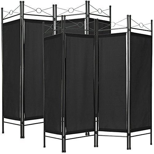 TecTake Biombos diseño 4-Panel Tela Divisor habitación Separador separación biombo 180x160cm Varias cantidades - (2X Negro | no. 401832)