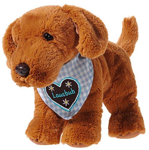 Heunec 310360 Plüschtier, Hund, braun mit blau