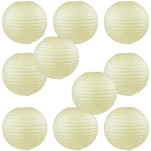 """WYZworks Round Paper Lanterns 10 Pack (Ivory Cream, 16"""") - with 8"""", 10"""", 12"""", 14"""", 16"""" option"""