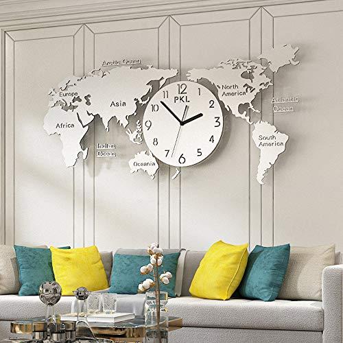 HPDOM Acrílico Creativo + Acero Inoxidable SUS304 Reloj de Pared con Mapa Mundial Personalidad Sala de Estar Moderna Reloj de Pared silencioso Reloj con Mapa Mundial atmosférico,Silver
