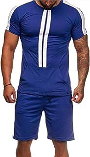 Men's Tracksuit 2 Piece Outfit Sport Set Short Sleeve Tops + Short Pants