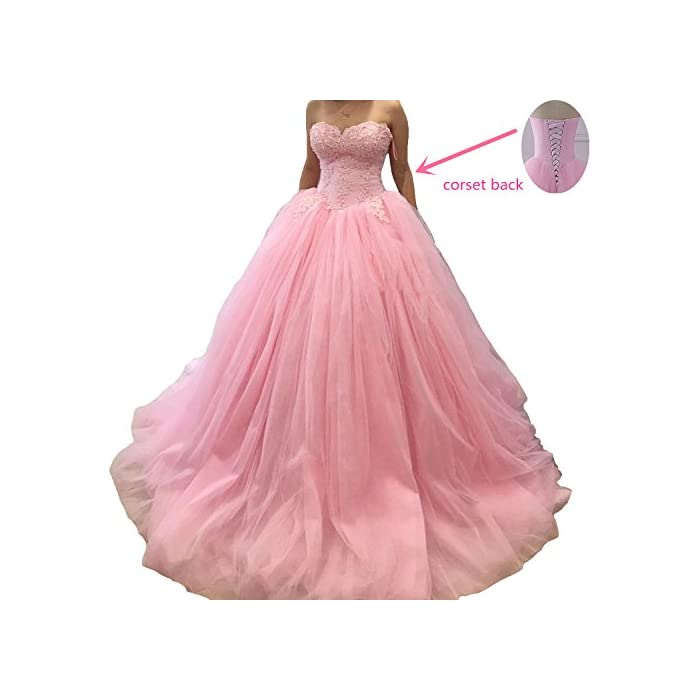 Fair Lady 2020 Long Pink Ball Gown Quinceanera Dresses Sweetheart Lace Princess Prom Dress Formal Evening Gowns