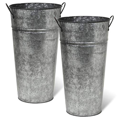 Rustic Metal 13 Inch Galvanized Flower Vase - Set of 2 - French Bucket - Farmhouse Style - Perfect for Fresh and Dried Floral Arrangements for Home and Weddings (Pewter Gray)