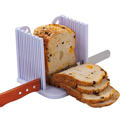 Bread Slicer, Loaf Cutting Guide Board, Adjustable & Foldable Sandwich Toast Bread Slicer, Plastic Homemade Bread Slicer, White