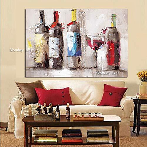 wZUN Romántico Copa de Vino Tinto Bailando sobre Lienzo Pintura al óleo decoración de la Cocina Mural de la Sala de Estar 60x90 Sin Marco