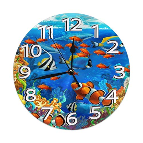 Xiaoxian The Art of The World of The Sea Quiet retro design wooden wall clock without scale wall clock home decoration wall clock fashion standable clock