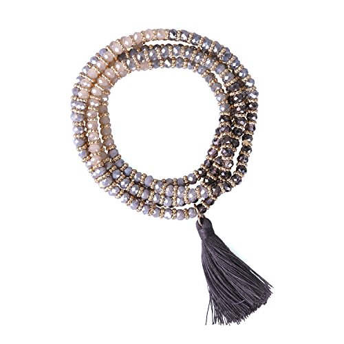 KELITCH Crystal Beads Mujeres Collar Elástico Borla Pulseras De Cristal Brazalete Pulseras Envolventes Elásticas (Negro)