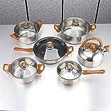 NJBYX Juego de Utensilios de Cocina Conjunto de 12 Piezas Cocina de Acero Inoxidable Pote de Cocina y pámaros Conjuntos de Cacerola Segura de inducción Casserole Pan de Vidrio Tapa de Vidrio Pans