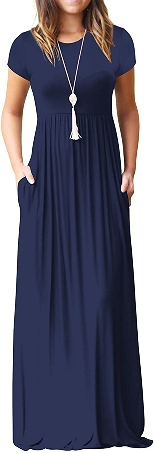 LERUCCI Women's Short Sleeve Loose Plain Casual Long Maxi Tunic Dress with Pockets Navy Small