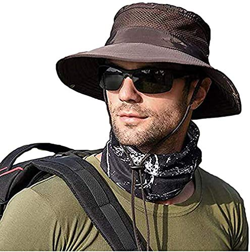 Men Women Sunscreen Cooling Hat Ice Cap Heatstroke Protection Cooling Cap Wide Brim Sun Hat with UV Protection Coffee