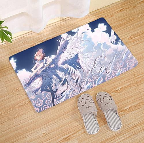 Anime Card Captor Sakura Tapis antidérapants imprimés en 3D Tapis rectangulaires imprimés Paillassons d'entrée Lavable Cuisine Plancher Salle de Bain Blanc (19,6 * 31,4 Pouces)
