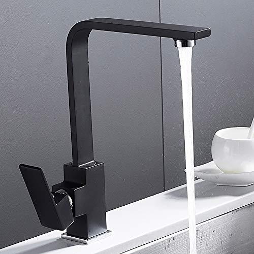 Grifo monomando para fregadero de cocina moderno, de latón macizo, de cascada, de un solo orificio, monomando de latón pulido, color negro