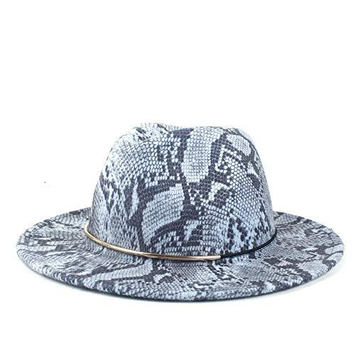 Oro Vintage Anillo Lana Señoras Sombrero Fedora Sombrero De Lana Polietime Panama Ancho ala ala Elegante Sombrero Sombrero Cálido Sombrero De Jazz(Size:56-58cm,Color:4)
