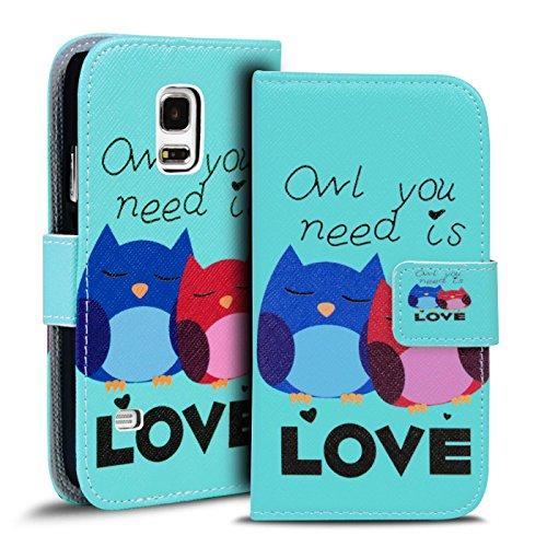 Verco Handyhülle Galaxy S5 Mini Muster, Motiv Hülle für Samsung Galaxy S5 Mini Book Case Flip Cover - Design 18