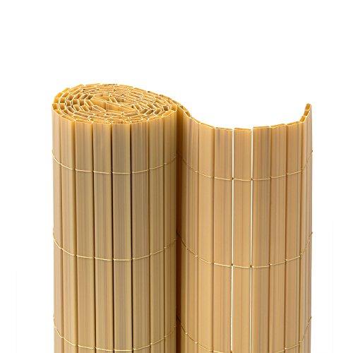 jarolift PVC Sichtschutzmatte Premium Sichtschutz Garten Balkon Terrasse Sichtschutzzaun Balkonverkleidung Zaunblende, 180 x 500cm, Bambus