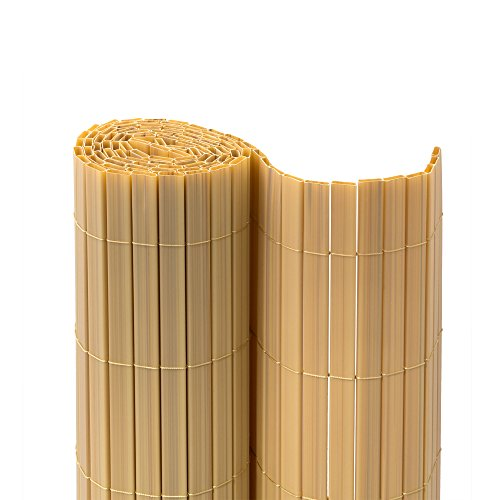 jarolift Premium PVC Sichtschutzmatte/Sichtschutzzaun 220 x 500cm inkl. Abdeckprofile, Bambus