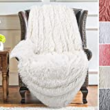 YJ.GWL Soft Shaggy Throw Blanket and Fluffy Long Plush Faux Fur Bed Throws Fuzzy Decorative Sherpa Fleece Blankets for Couch, Sofa,Chair 50 x 60 Inch Cream White