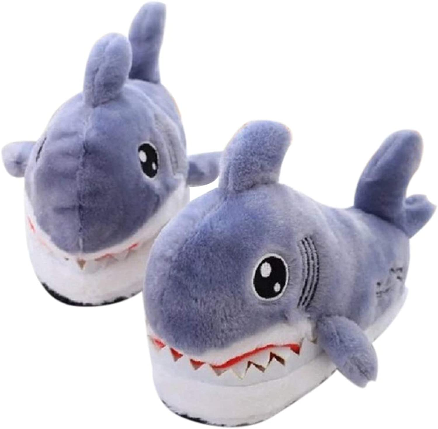 Nafanio Cute Flock Plush Boots Indoor Shark Slippers Unisex Winter Animal Prints Furry Grey Fluffy Home Fuzzy House shoes
