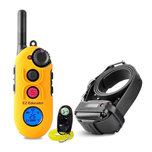 Bundle of 2 Items - E-Collar - EZ-900 - 1/2 Mile Remote Waterproof Trainer Easy Educator - Static, Vibration and Sound Stimulation Collar With PetsTEK Dog Training Clicker Training Kit