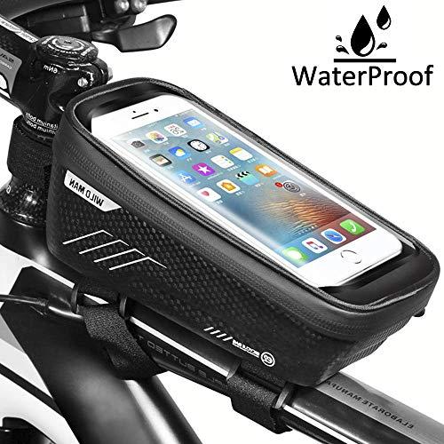 Iindes Bike Frame Bag Waterdicht, Fietsen Fiets Frame Pannier met Hoge Gevoelige Touchscreen Cycle Top Tube Tassen voor Onder 6,5 inch Mobiele telefoons, iPhone, Samsung, Fiets Telefoon Houder.