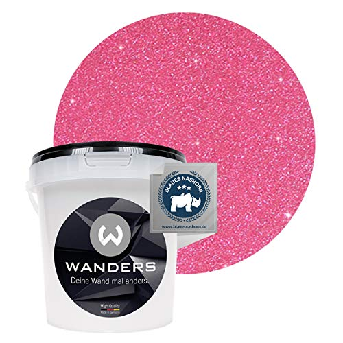 Wanders24® Glimmer-Optik (1 Liter, Silber-Pink) Glitzer Wandfarbe - Wandfarbe Glitzer - abwaschbare Wandfarbe - Glitzerfarbe - Made in Germany