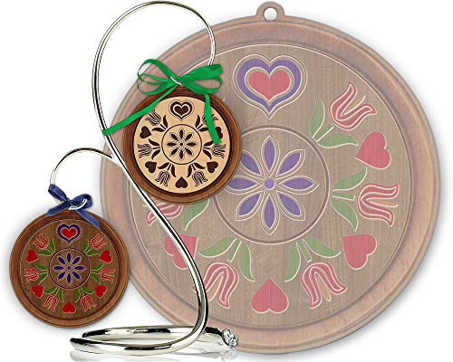 Red Tail Crafters Trinity Tulips 3in/4in Hardwood Ornament PA Dutch Laser-Engraved Hex Sign