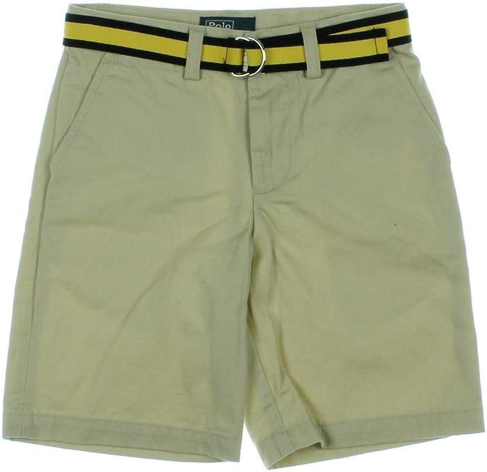 Ralph Lauren Polo Boys Chino Short & Belt Sz 6 Beige