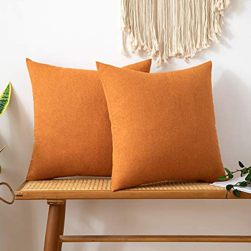 MIULEE Pack of 2 Faux Linen Square Throw Pillow Case Cushion Covers Home for Sofa Chair Couch/Bedroom Livingroom Decorative Home Decor Pillowcases 16x16 Inch 40x40cm Orange