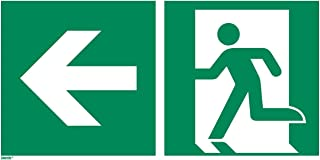 Emergency exit Left Sticker, photoluminescent Vinyl 12 x 6 inches Rescue Sign, ISO 7010 [E001], Pack of 1