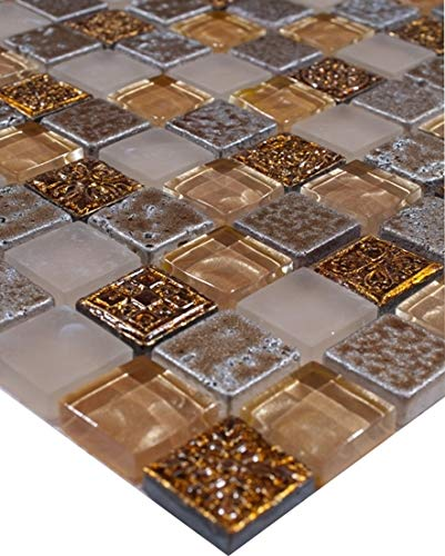 Glasmosaik Klarglas metall Ornament Fliesen Gold antik Mosaik Fliese 30x30 Neu