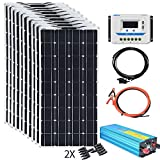 XINPUGUANG 100w Flexible Solar Panels 24V 1000W Solar System Kit Monocrystalline Cell Module 45A Controller 2000W Inverter for Off...