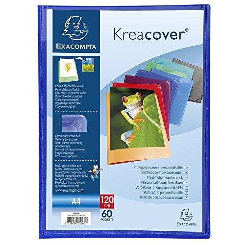 Exacompta 5660E Porte vues Kréa cover opaque couverture personalisable en prolypropylene semi rigide pochettes interieures lisse haute transparence 60 pochettes et 120 vues Coloris aléatoires