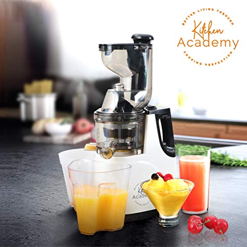 Kitchen Academy Slow Juicer, Large Feed Chute Masticating Juicer Machine, Ultra Efficient 150W, 60 RPMs, Ceramic White - Ceramic White