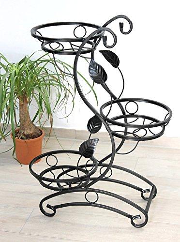 DanDiBo Blumentreppe Metall Schwarz 87 cm Blumenständer mit 3 Ablagen KW019 Blumensäule Pflanzenständer Pflanzensäule Blumenhocker