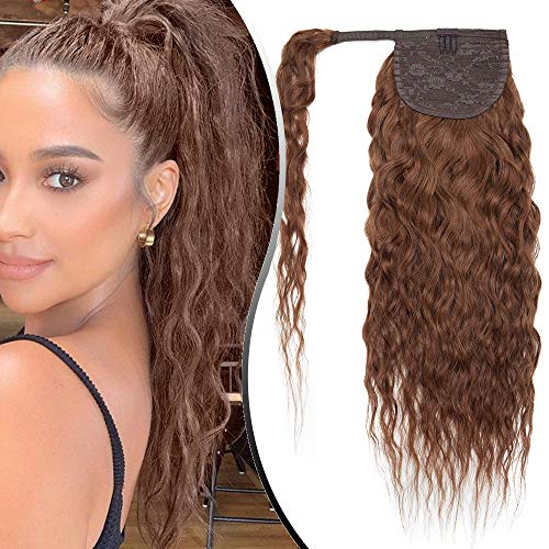 Elailite Extensions Echthaar Pferdeschwanz 40cm 80g lockig Haarverlängerung Haarteile Zopf Ponytail gewellt Remy Corn Wave Wrap on Human Hair mit Klettverbindung 16