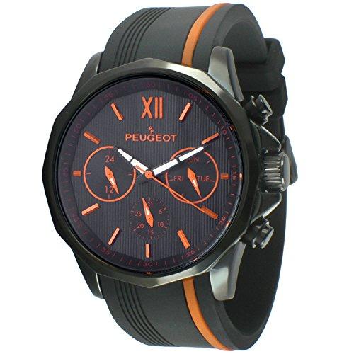 PP Peugeot Reloj analógico para Hombres de Cuarzo con Correa en Silicona 2046BOR
