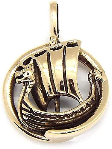 NC110 Collar Colgante para Hombres y Mujeres RegalosBarco de Bronce Redondo pequeñoColgante Longhip YUAHJIGE