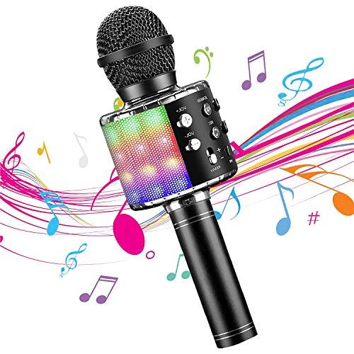 DY_Jin Micrófono inalámbrico de Karaoke Bluetooth 4 en 1 con Luces LED, portátil de Mano para niños, Reproductor KTV doméstico con función de grabación (Black)