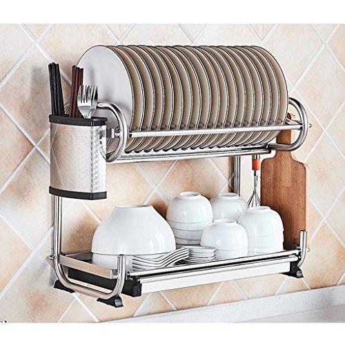 Bowl Shelf 304 étagère de cuisine en acier inoxydable pendaison pylône baguettes vaisselle rangement incorporé égouttoir tablette étagère 2 couche 50 * 25 * 38cm ( edition : D , taille : 50*25*38CM )