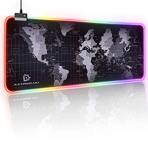 JYZZ RGB Gaming Mouse Pad - Large Led Keyboard Pad, Mouse Mat with HD Map, Smoothly Waterproof Surface, Non-Slip Rubber Base, 31.5'' X 11.8'' & 14 Light Modes