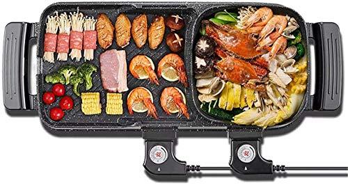 Grill Tragbarer elektrischer Grill, elektrischer BBQ 5 Geschwindigkeit Feuereinstellung elektrischer Barbecue Herd Indoor Hot Pot, 1800 Watt Multifunktion Grill (Color : Black)