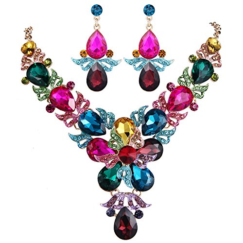 EVER FAITH Rhinestone Crystal Wedding Flower Leaf Teardrop Necklace Earring Set Multicolor Gold-Tone